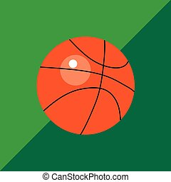 Basketball ball on a two-tone background. Picture style flat