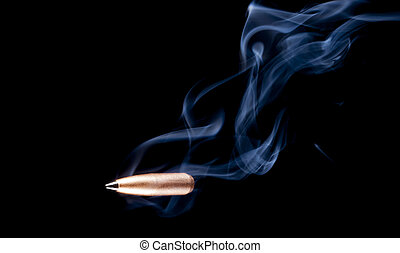 Turbulent flight - Smoke rising from a copper plated bullet...