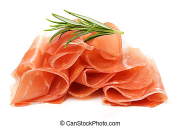 Prosciutto, italian cured ham isolated on white background