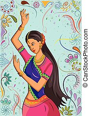 Traditional Indian woman in dancing pose