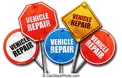 vehicle repair, 3D rendering, street signs
