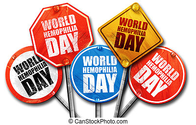 world hemophilia day, 3D rendering, street signs