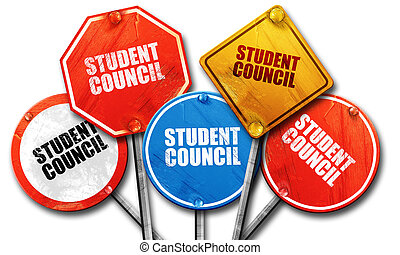 student council, 3D rendering, street signs