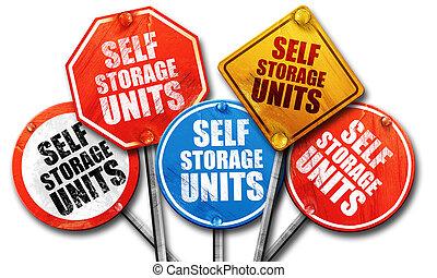 self storage units, 3D rendering, street signs