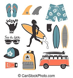 Beach style. Surfer retro vector set. Vintage surf elements.