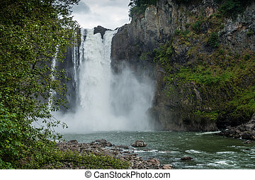 Below Snoqualmie Falls 3 - A view of majestic Snoqualmie...