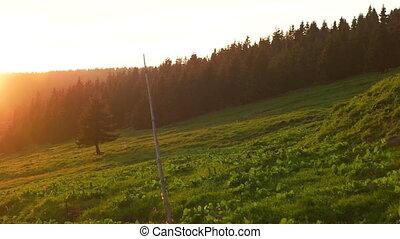Beautiful Sunset Over the Krkonose Mountain - Sun slowly...