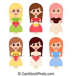 Beautiful Girls Cartoon Characters in Princess Dresses