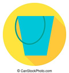 Garden Tool Bucket Circle Icon. Flat Design Vector...