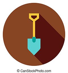 Garden Tool Shovel Circle Icon. Flat Design Vector...
