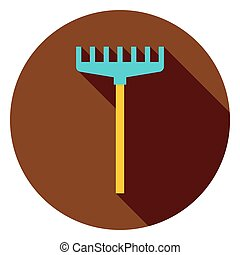 Rake Garden Tool Circle Icon. Flat Design Vector...
