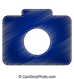 Digital camera sign. Jeans style icon on white background.