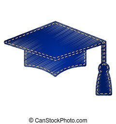 Mortar Board or Graduation Cap, Education symbol Jeans style...