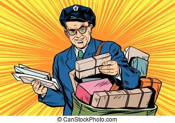 Cheerful retro oldster postman pop art - Cheerful oldster...