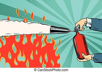 Extinguish the flames with a fire extinguisher pop art retro...