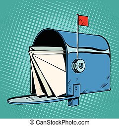 Retro letter box realistic drawing, pop art retro vector....