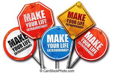 vie, faire, rendre, rue, extraordinaire, signes, ton,  3D