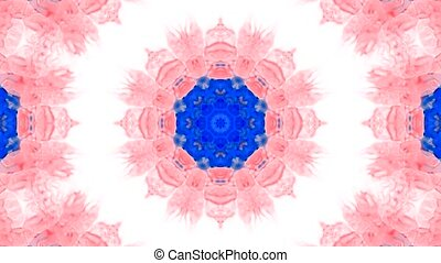 Animation of pink flower pattern,orient watercolor style...