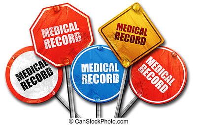 medical record, 3D rendering, street signs