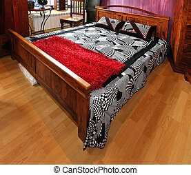 Wooden bed - Retro double bed covered with cotton sheets