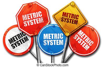 metric system, 3D rendering, street signs