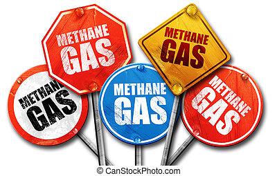 methane gas, 3D rendering, street signs