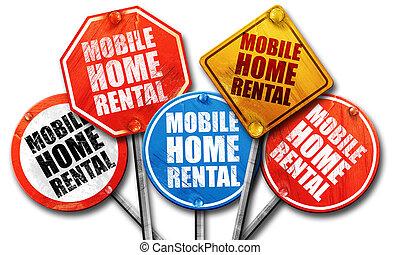 mobile home rental, 3D rendering, street signs
