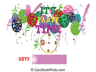 party time with clock on white