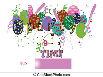 its party time large text - party time greeting in large...