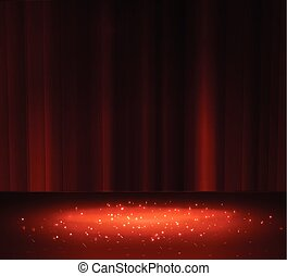 Red curtain with a spotlight