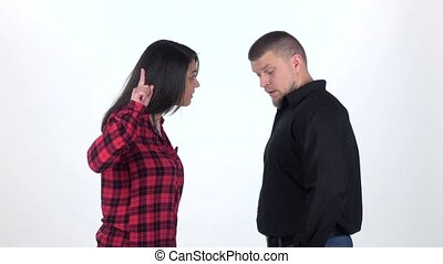 Angry woman yelling at man. Slow motion. Slow motion