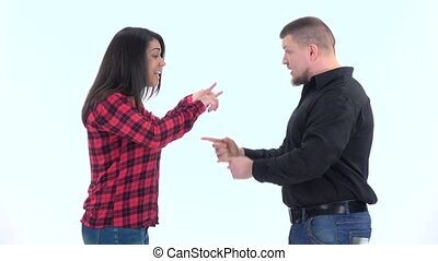 Couple very emotional quarrel isolated on white background. Slow motion