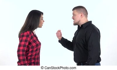 Two people find out the relationship, white background. Slow...