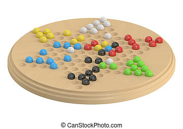 chinese checkers game, 3D rendering