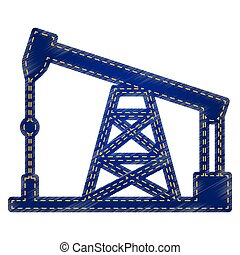 Oil drilling rig sign. Jeans style icon on white background.