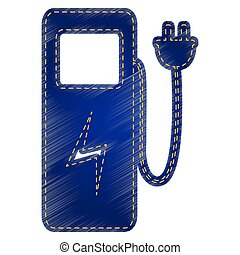 Electric car charging station sign. Jeans style icon on...