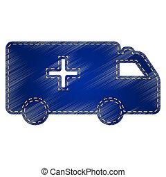 Ambulance sign illustration. Jeans style icon on white...