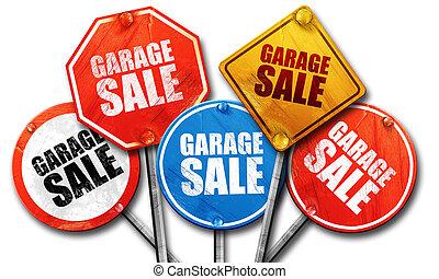 garage sale, 3D rendering, street signs