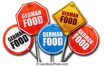 german food, 3D rendering, street signs