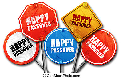 happy passover, 3D rendering, street signs
