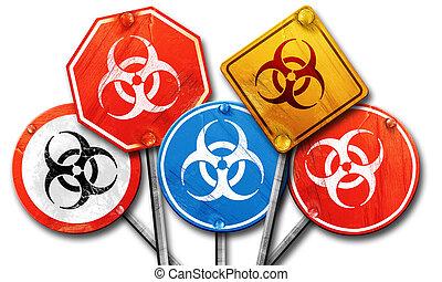 Bio hazard sign on a grunge background, 3D rendering, street...