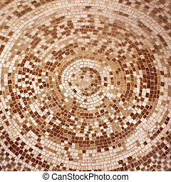old roman beige and brown mosaic ceramic tiles in circle...