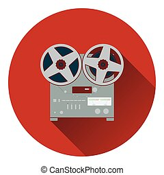 Reel tape recorder icon. Flat design. Vector illustration.