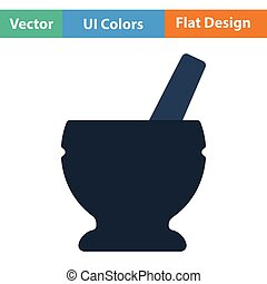 Mortar and pestle icon Flat design Vector illustration