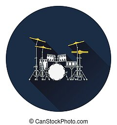 Drum set icon Flat design Vector illustration