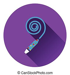 Party whistle icon. Flat design. Vector illustration.