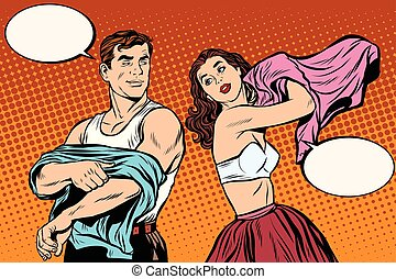 Morning man and woman dress up. Underwear pop art retro...