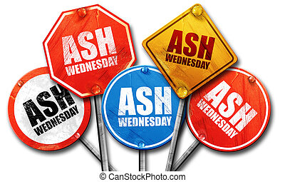 ash wednesday, 3D rendering, street signs