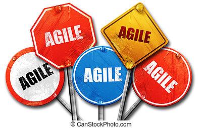 agile, 3D rendering, street signs
