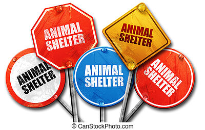 animal shelter, 3D rendering, street signs